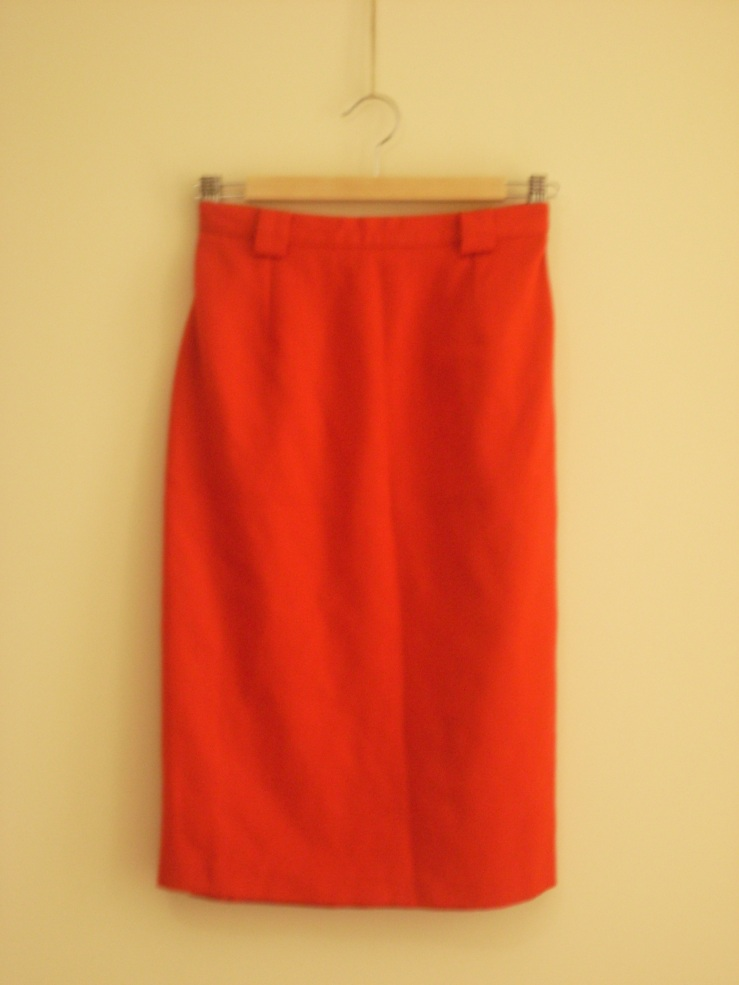 Red wool french skirt
