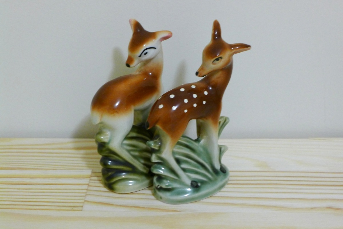 Two deer ornaments