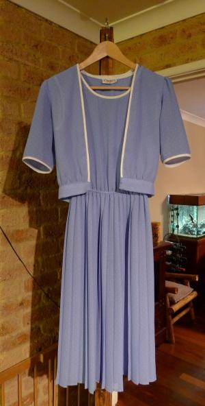 Blue dress with white polka dots w/ shrug