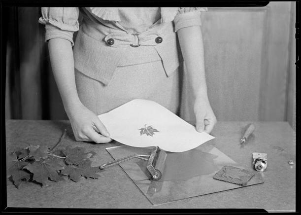 Woman Printing, Leaf Relief ca. 1920-1940