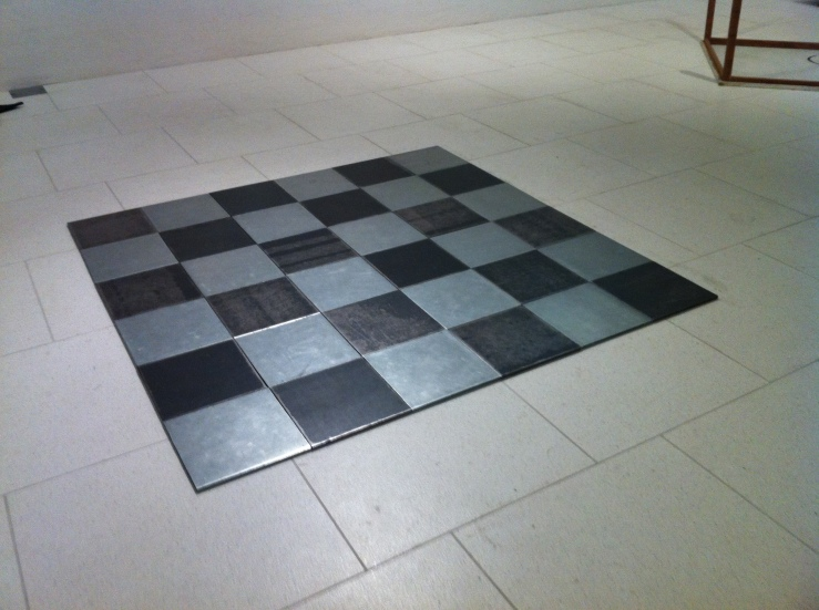 Carl Andre, Steel Zinc Plain, 1969 Meant to walked on, but I'm always too scared of being tackled by security to do it