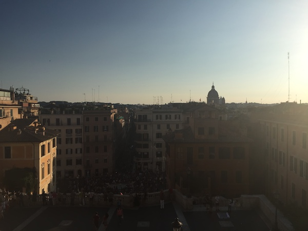 Sunset from the top of the Spanish Steps on my last night, arrivederci!